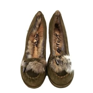 Naughty Monkey Olive green suede heel w fur accent
